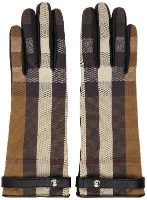 Burberry Brown & Black Check Lambskin Gloves
