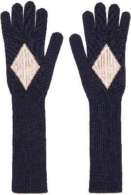 Chloé Navy & Pink Jacquard Monogram Gloves