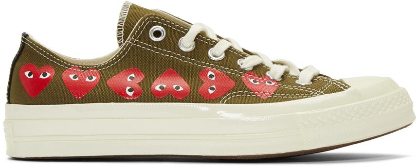 Comme des Garçons Play Khaki Converse Edition Multiple Hearts Chuck 70 Low Sneakers