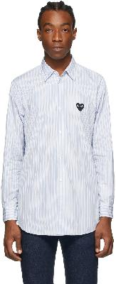 Comme des Garçons Play Blue Striped Heart Patch Shirt