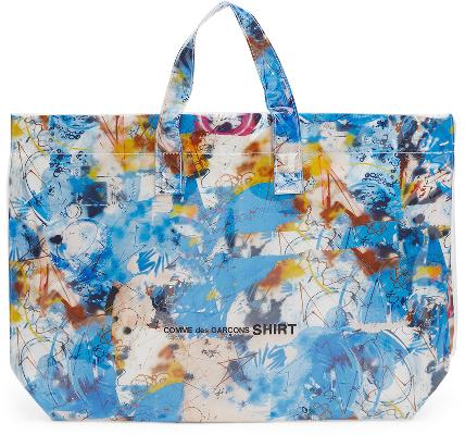 Comme des Garçons Shirt Blue Large Futura Edition Tote Bag
