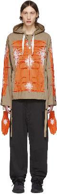Craig Green SSENSE Exclusive Khaki & Orange Cagoule Embroidered Hoodie