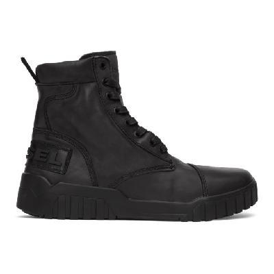 Diesel Black H-Rua AM Lace-Up Boots