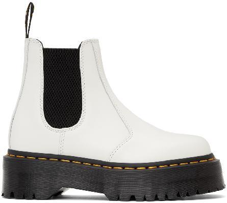 Dr. Martens White Quad Platform Chelsea Boots
