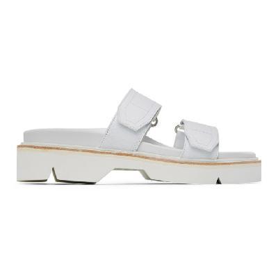 Dries Van Noten White Velcro Strap Sandals