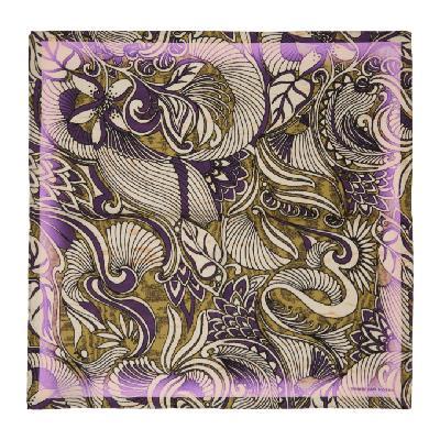 Dries Van Noten Yellow & Purple Silk Foliage Pocket Square