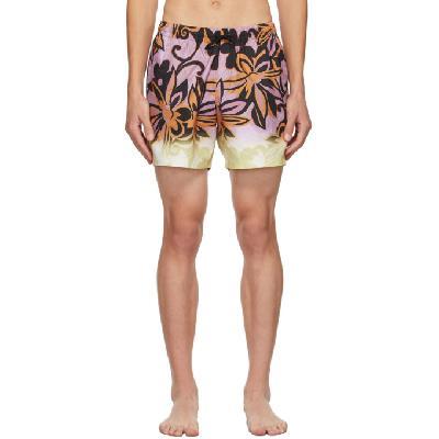 Dries Van Noten Purple Floral Swim Shorts