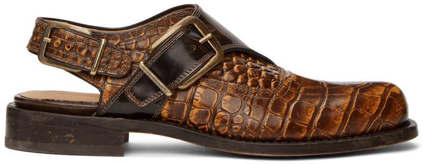 Dries Van Noten Brown Leather Monkstrap Shoes