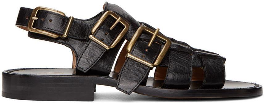 Dries Van Noten Black Leather Sandals