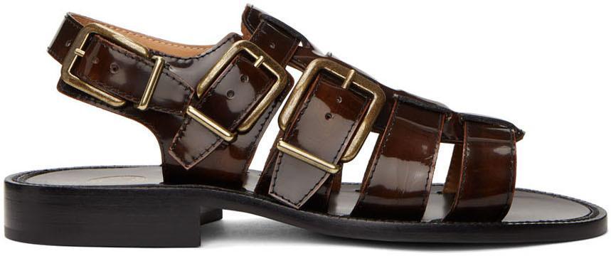 Dries Van Noten Black & Brown Patent Sandals