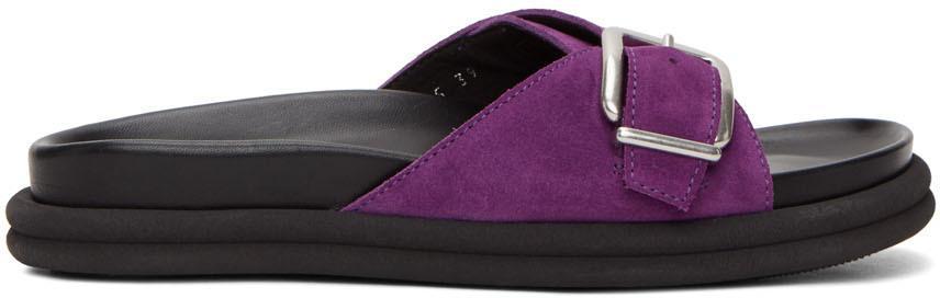 Dries Van Noten Purple Suede Slip-On Sandals
