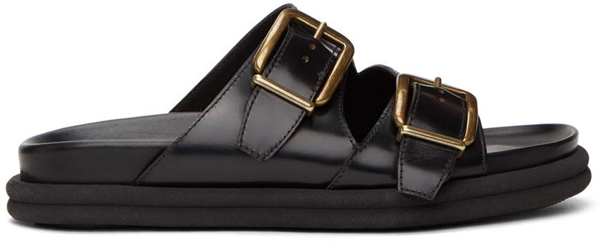 Dries Van Noten Black Leather Slip-On Sandals