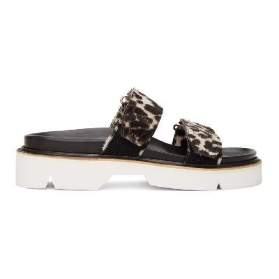 Dries Van Noten Grey & Black Cheetah Print Sandals