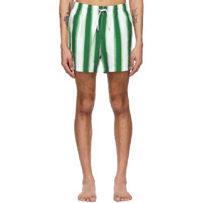 Dries Van Noten Green & White Len Lye Edition Graphic Swim Shorts