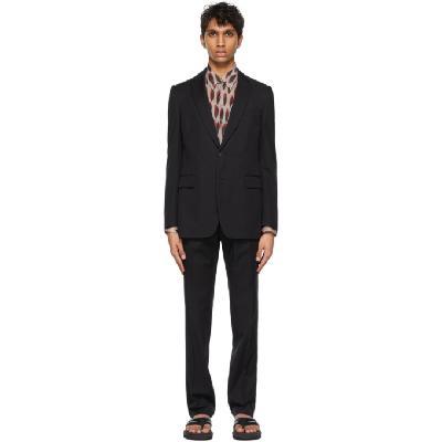 Dries Van Noten Black Cotton & Wool Single Vent Suit