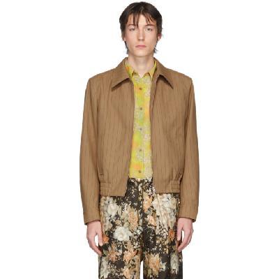 Dries Van Noten Brown & Red Pinstripe Zip-Up Jacket
