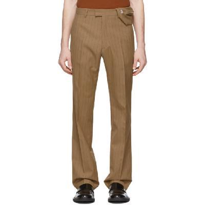 Dries Van Noten Brown & Red Pinstripe Trousers
