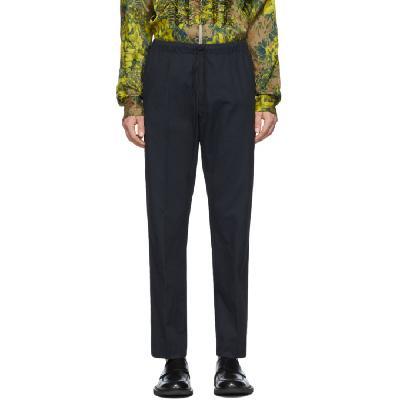 Dries Van Noten Navy Drawstring Trousers