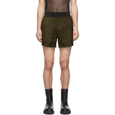 Dries Van Noten Khaki Colorblocked Elastic Waist Shorts