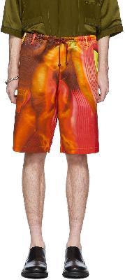 Dries Van Noten Red & Orange Satin Shorts