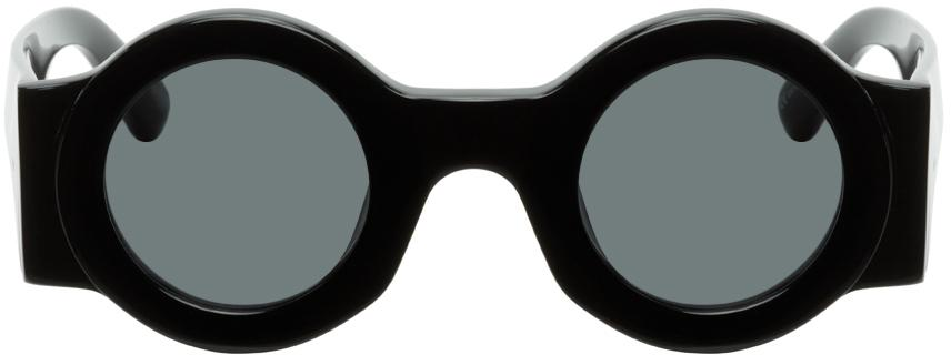 Dries Van Noten Black Linda Farrow Edition Round Sunglasses