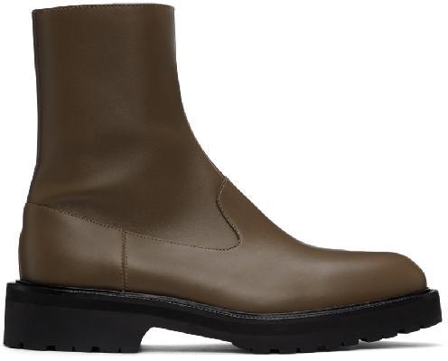 Dries Van Noten Grey Leather Zip Chelsea Boots
