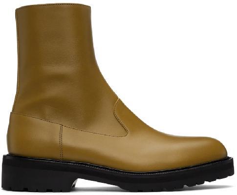 Dries Van Noten Yellow Leather Zip Chelsea Boots