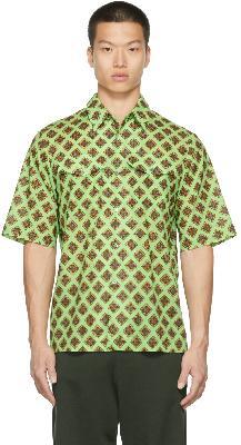 Dries Van Noten Green Cotton Poplin Graphic Shirt