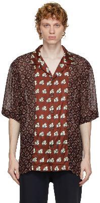Dries Van Noten Burgundy Viscose Print Shirt