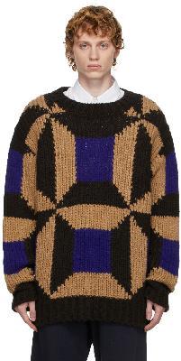 Dries Van Noten Brown & Blue Colorblocked Sweater
