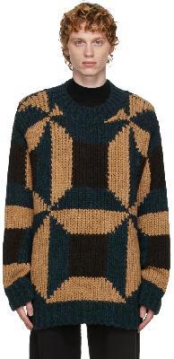 Dries Van Noten Brown & Navy Colorblocked Sweater