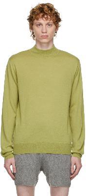 Dries Van Noten Green Mock Neck Sweater
