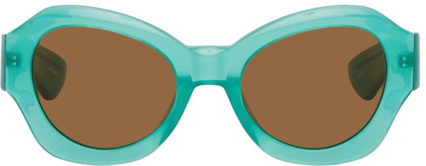 Dries Van Noten Blue Linda Farrow Edition Oversized Cat-Eye Sunglasses