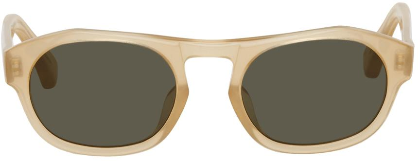 Dries Van Noten Beige Linda Farrow Edition Oval Sunglasses