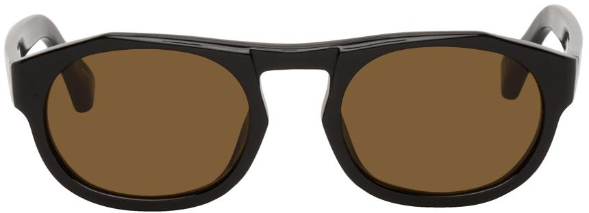 Dries Van Noten Black Linda Farrow Edition Oval Sunglasses