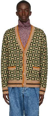 Dries Van Noten Black & Green Wool Jacquard Cardigan