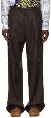 Dries Van Noten Brown Pinstripe Trousers