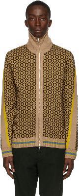 Dries Van Noten Beige Wool Printed Zip Sweater