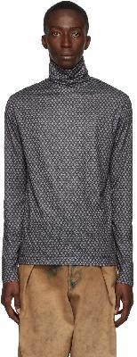 Dries Van Noten Black Stretch Printed Turtleneck