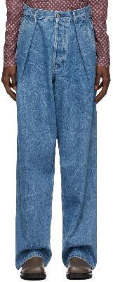 Dries Van Noten Blue Marbled Wide-Leg Jeans