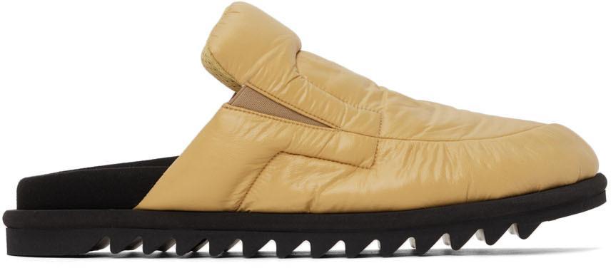Dries Van Noten Yellow Nylon Padded Open Back Loafers