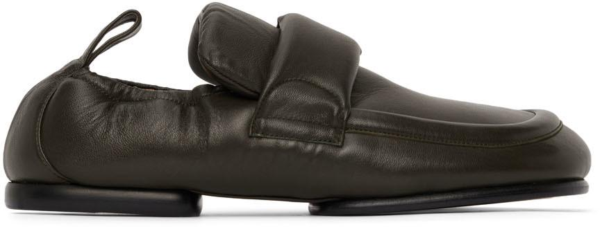 Dries Van Noten Green Leather Padded Loafers
