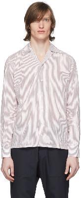 Eidos Burgundy & White Stripe Open Collar Shirt
