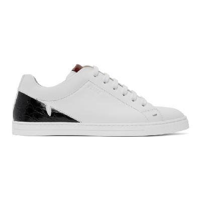 Fendi White Croc Bag Bugs Mono Eye Sneakers
