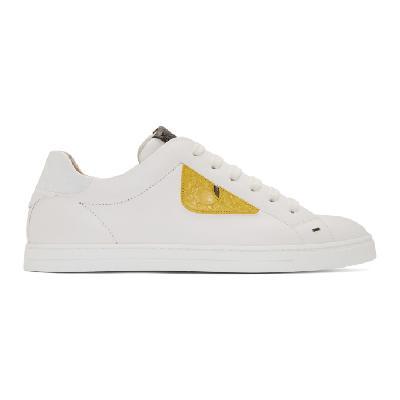 Fendi White Leather Bag Bugs Sneakers