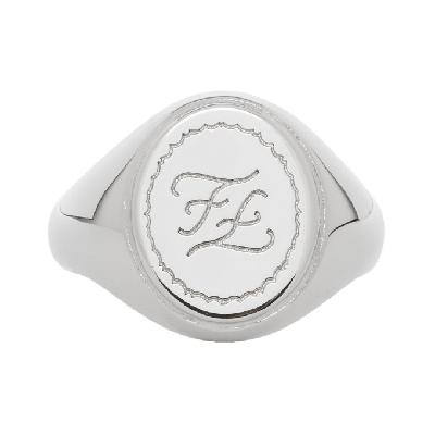 Fendi Silver Karligraphy Signet Ring