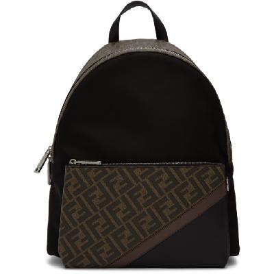 Fendi Black 'Forever Fendi' Fabric Backpack