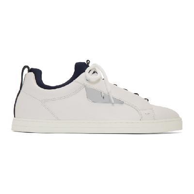 Fendi White & Navy Bag Bugs Sneakers
