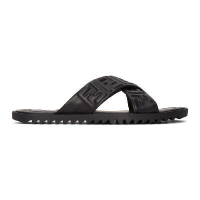 Fendi Black Leather 'Forever Fendi' Slides