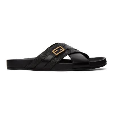 Fendi Black & Gold Baguette Sandals